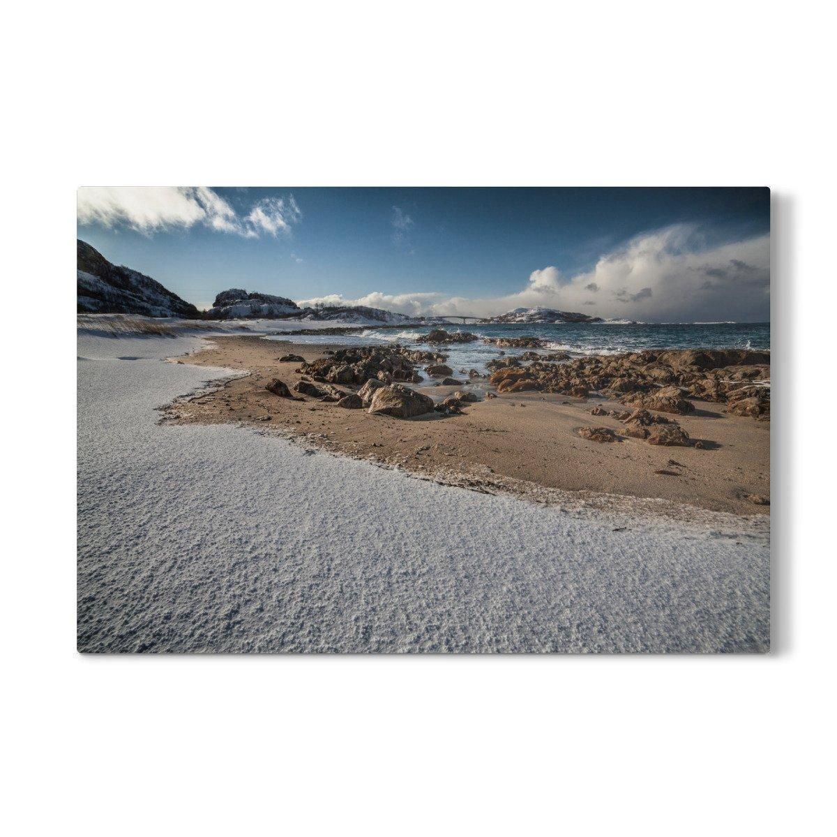 artboxONE Galerie-Print 60x40 cm Schneestrand hochwertiges Acrylglas auf Alu-Dibond Bild - Wandbild von Sebastian Worm