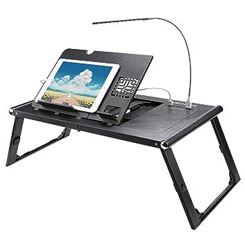Homdox Mesa Portátil Inteligente para Ordenador y Tablet Mesa Plegable con Cargador: Amazon.es: Hogar