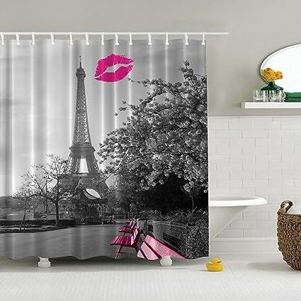 Moldiy Chic Grey Paris Eiffel Tower Waterproof Bathroom Shower Curtain
