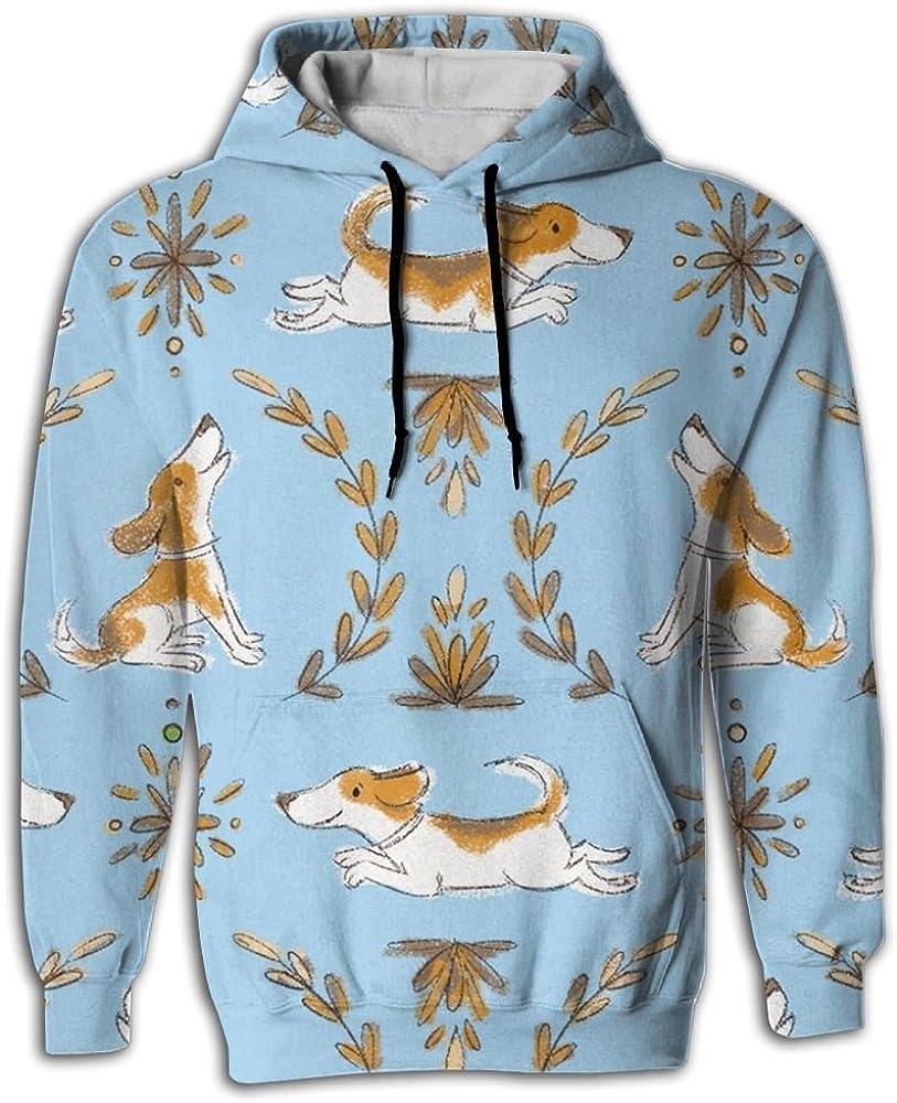 MCPWY Cute Beagle Blue Dog Mens Sleeve Hoodie Crazy Boys Mens Hoodies Unique Color Sweatshirt Men