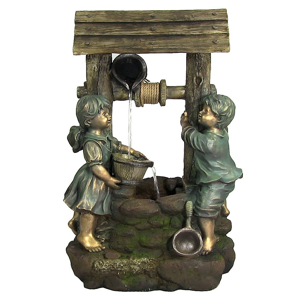 Sunnydaze Children at the Well Outdoor Water Fountain with LED Light, 39 Inch Tall