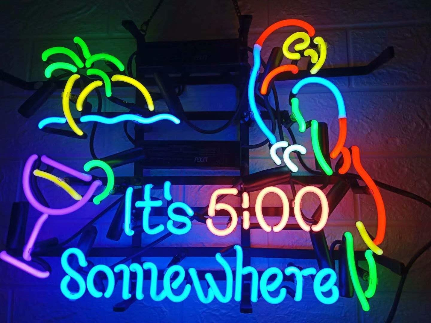 LDGJ Neon Signs It's 5 :00 S omewhere Parrot Custom Handmade Home Beer Bar Pub Recreation Room Lights Windows Glass Wall Sign Party Birthday Bedroom Bedside Table Decoration
