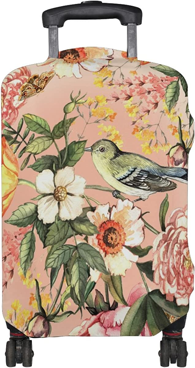 GIOVANIOR Delicate Flowers And Birds Luggage Cover Suitcase Protector Carry On Covers