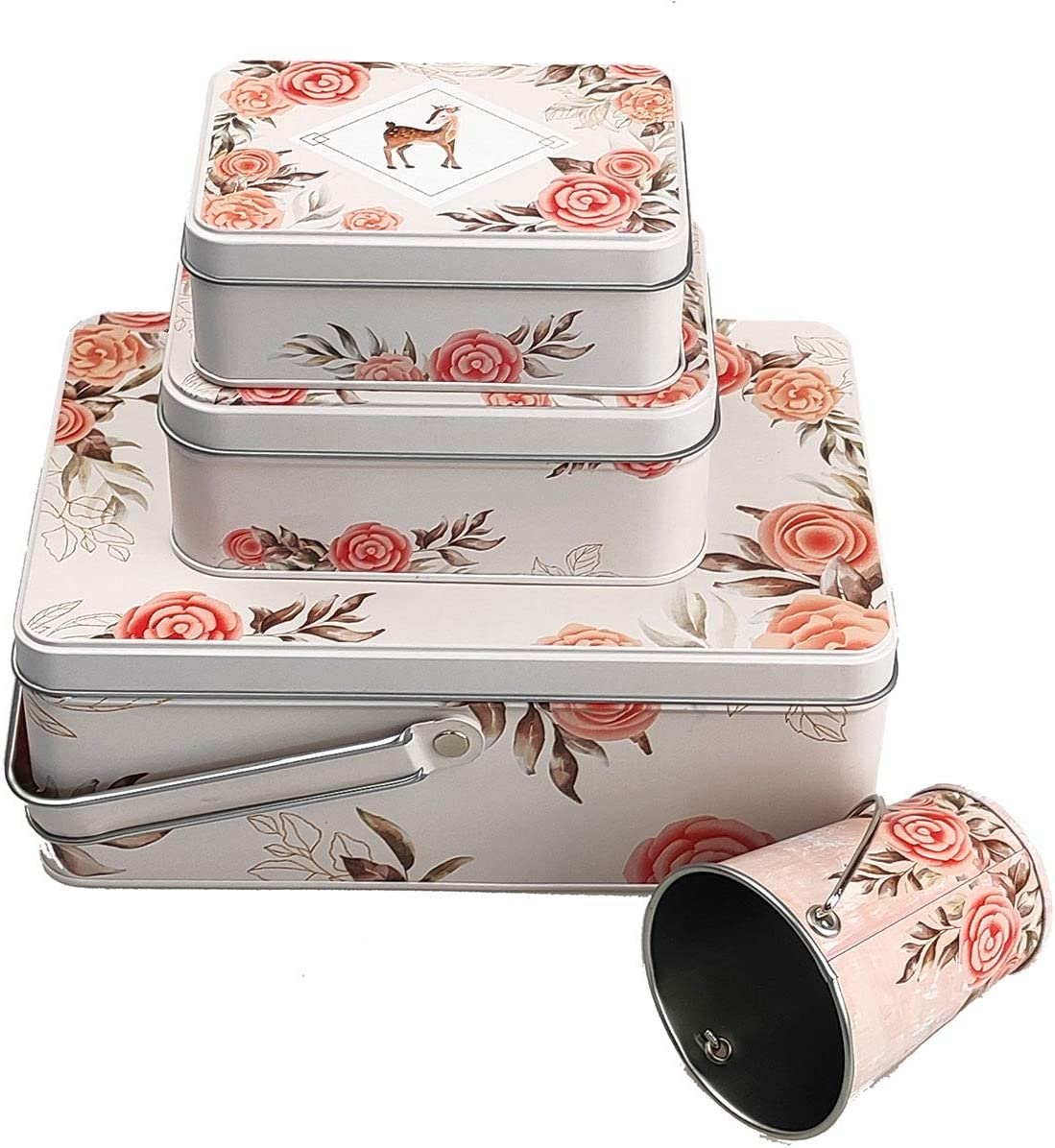 Tsing Candy Tins Colorful Metal Tin with Lid 4-in-1 Empty Rectangle Metal Storage Tin Can, Metal Bucket with Handle, Travel Containers Boxes for Cookie, Biscuit, Cards and Other things (Deer)