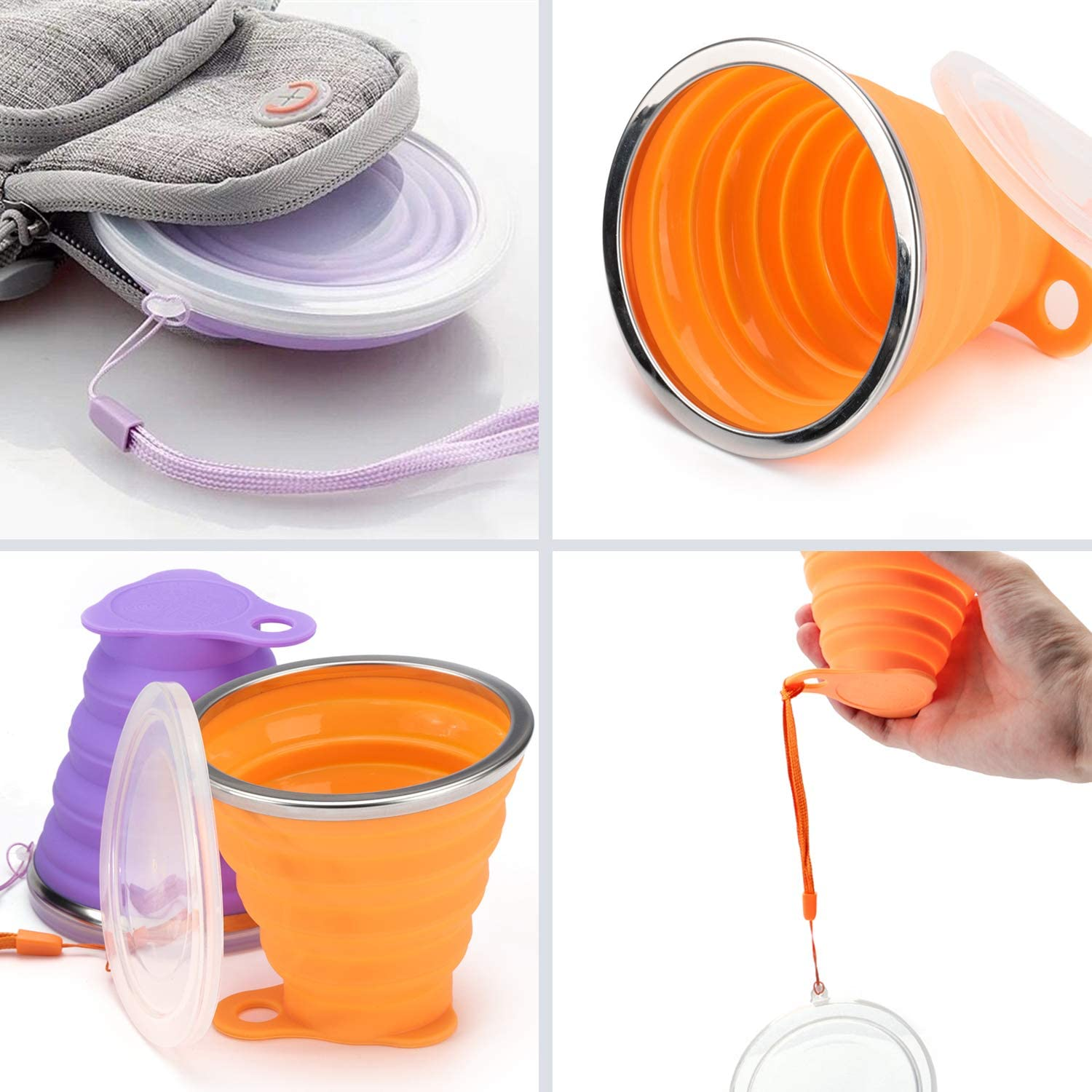 OSVAW Food-Grade Silicone Foldable Water Cup BPA Free Collapsible water Cup for Travel Office Camping Hiking Portable Water Cup 9oz 2-pack