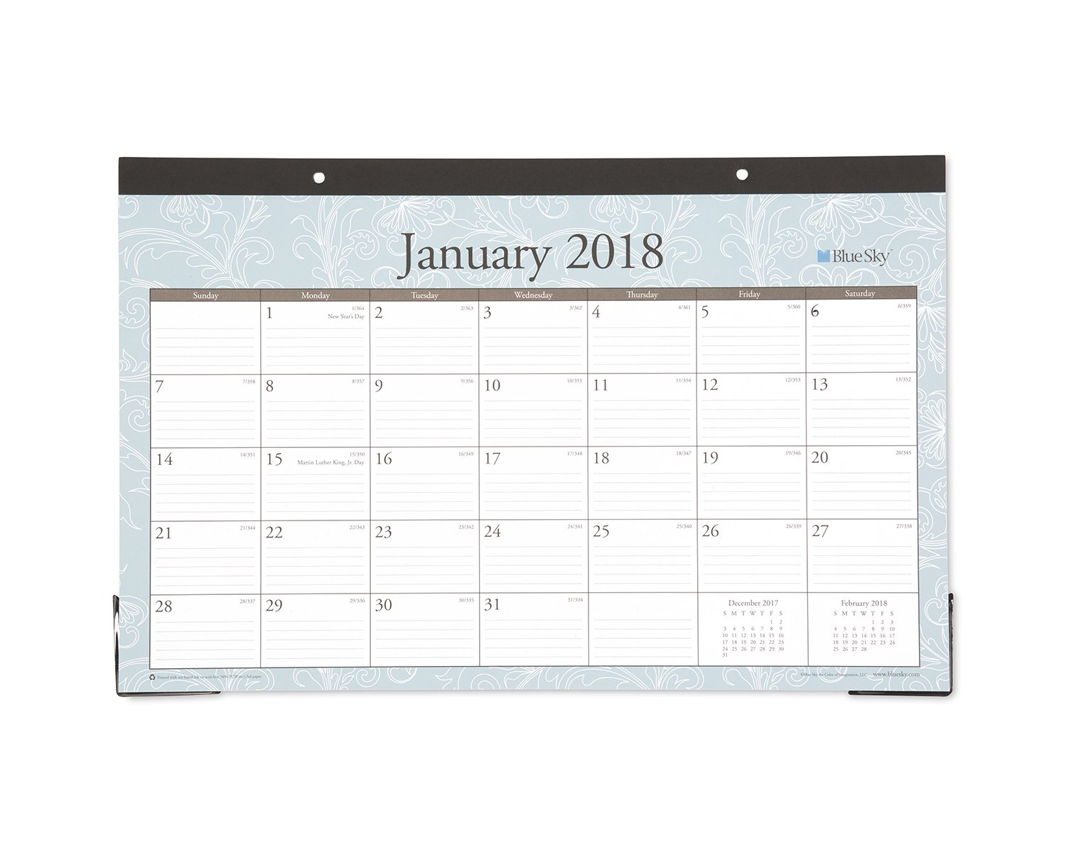 Blue Sky 2018 Monthly Desk Pad Calendar, 17'' x 11'', Knightsbridge