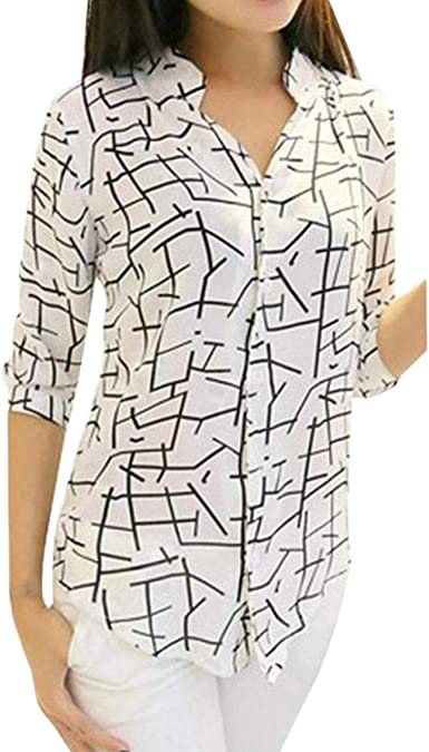 HX fashion Camisa De Blusa Suelta con Cuello En V Basic Y Manga Larga De Mujer Sudadera con Capucha Tops Camisa Estampada Elegante De Época Vintage Ropa: Amazon.es: Ropa y accesorios