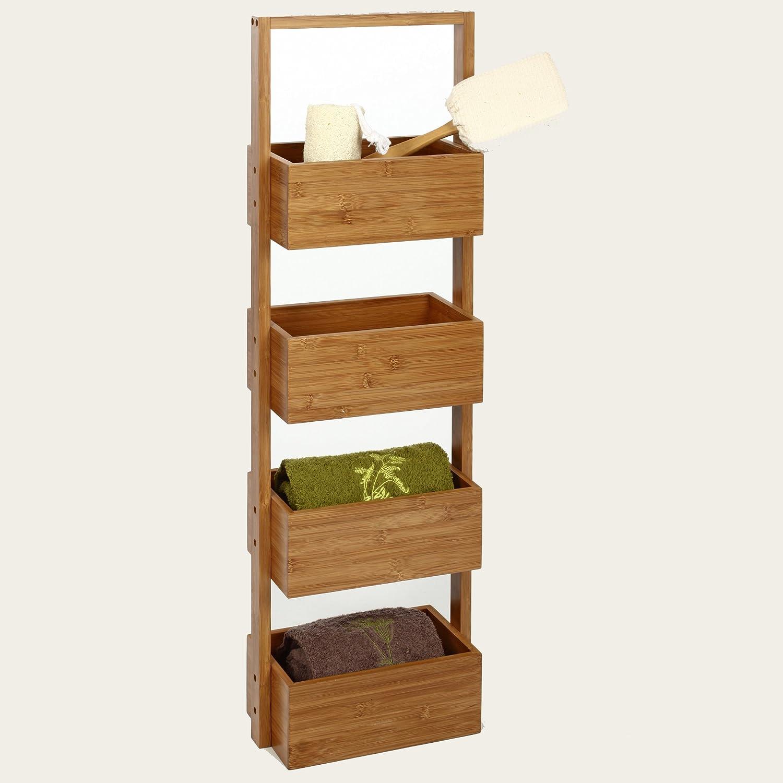 Meuble rangement 4 paniers en Bambou idéal pour la salle de bain