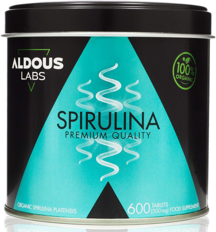 Espirulina Ecológica Premium para 18 Meses | 600 comprimidos de 500mg con 99% BIO Spirulina | Vegano - Saciante - DETOX - Proteína Vegetal | Certificación Ecológica (1 x 600 Comprimidos)