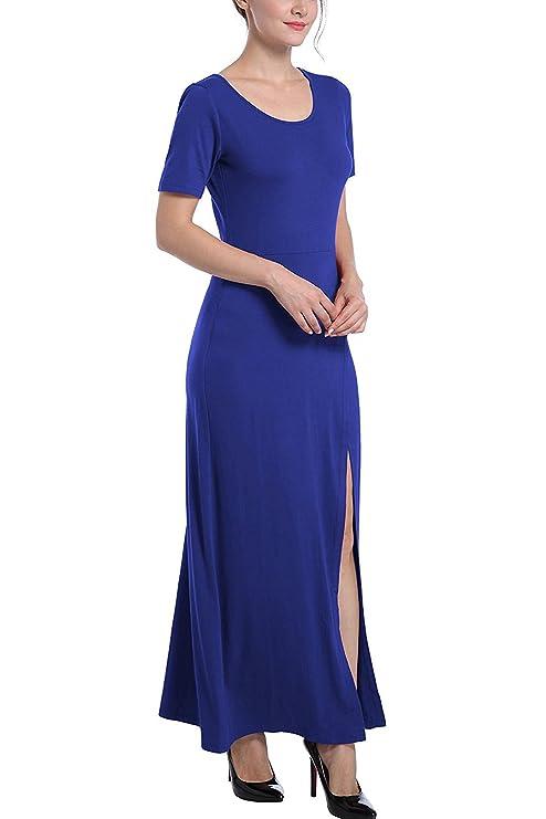 Review StJoyce Womens Retro Round Neck Short Sleeve Split Slim Casual Plain Swing Maxi Dress