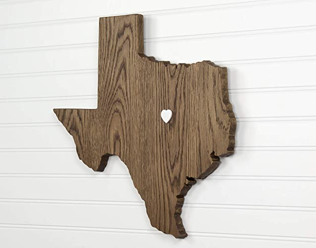 Texas State Shape Wood Cutout Sign Wall Art In Oak 17 Tall 6 Stain Colors Personalized With Choice Of Wooden Dimensional Heart Or Star At Hometown