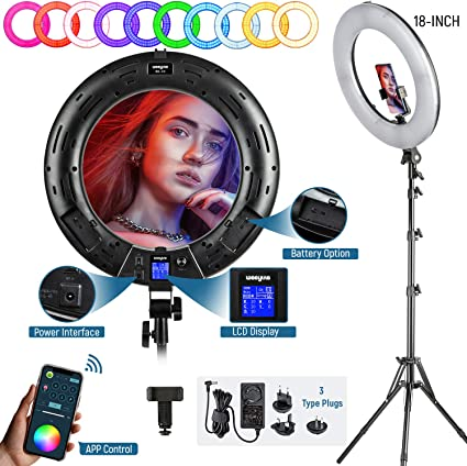 18-inch RGB LED Ring Light Kit with Stand Phone Holder APP Control, 2500K-8500K/CRI95/0-360 Hue/17 Scenes Lighting with LCD Screen 3 Type Plugs DC Adapter for Makeup Selfie YouTube Video Shooting
