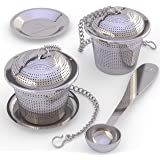 Apace Loose Leaf Tea Infuser (Set of 2) Tea Scoop Drip Tray - Ultra Fine Stainless Steel Strainer & Steeper a Superior Brewing Experience … (Medium, Silver)