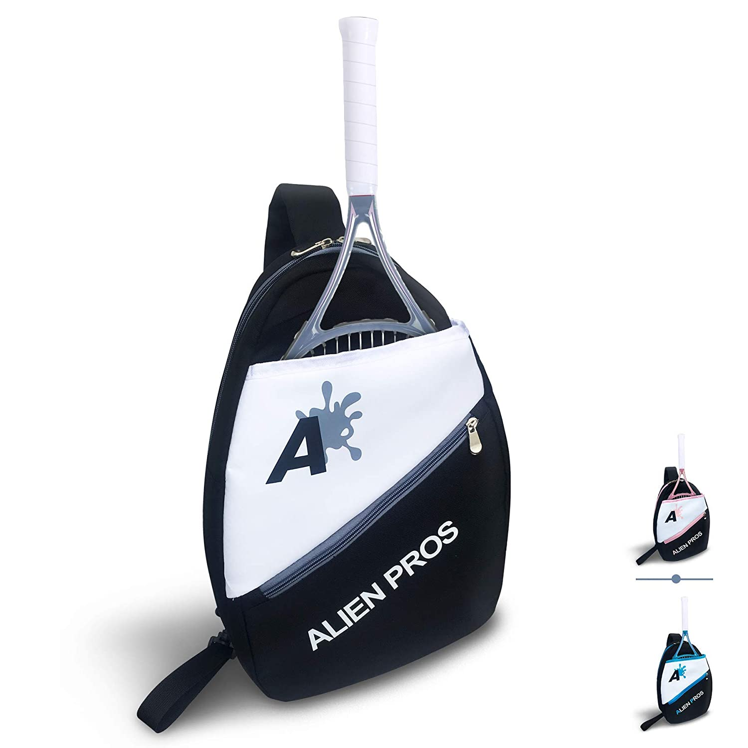 Alien Pros Lightweight Tennis Sling Backpack for Your Racket and Other Essentials - Pack Quickly and Lightly for Tennis and in Life - Tennis Racket ...