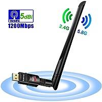 Auervo WLAN Stick, 1200Mbit/s WiFi Adapter, Dual Band 5GHz 866Mbps/2.4GHz 300Mbps USB WiFi Dongle mit 5dBi Antenne für Windows XP/ 7/8/ 8.1/10/ Vista, Mac OS X 10.4-10.12