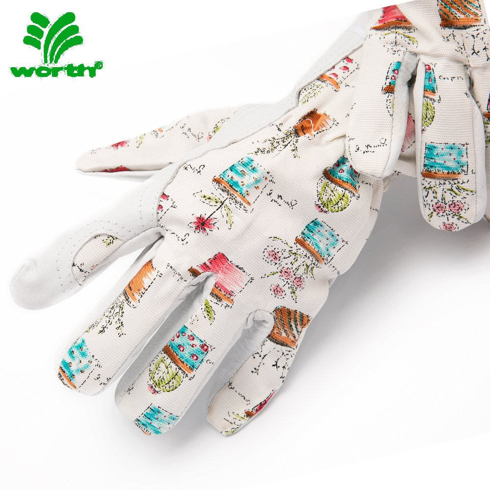 Worth Cute Canvas /u0026 Leather Protective Gardening Gloves | Cheerful Bonsai  Print Design For Women By ...