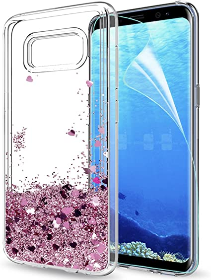 LeYi Funda Samsung Galaxy S8 Silicona Purpurina Carcasa con HD Protectores de Pantalla,Transparente Cristal Bumper Telefono Gel TPU Fundas Case Cover para Movil Galaxy S8 ZX Oro Rosa: Amazon.es: Electrónica