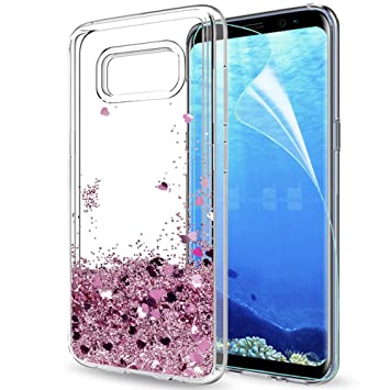 LeYi Compatible with Funda Samsung Galaxy S8 Plus S8+ Silicona Purpurina Carcasa con HD Protectores de Pantalla,Transparente Cristal Bumper Telefono ...