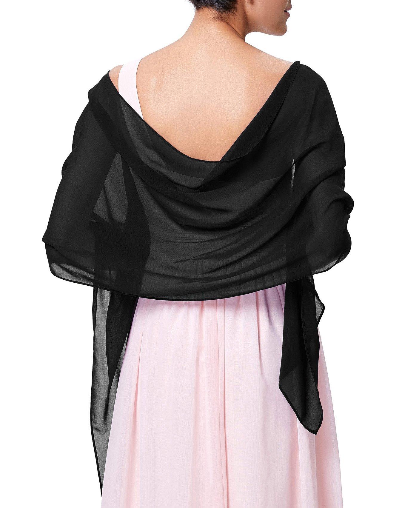 Kate Kasin Black Chiffon Bridal Evening Party Scarves Shawls KK229