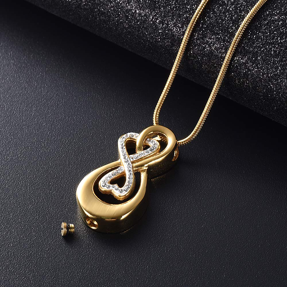 Infinity Love Urn Pendant Stainless Steel Snake Chain Cremation Jewellery for Ashes for Woman Free Filling Tools Include