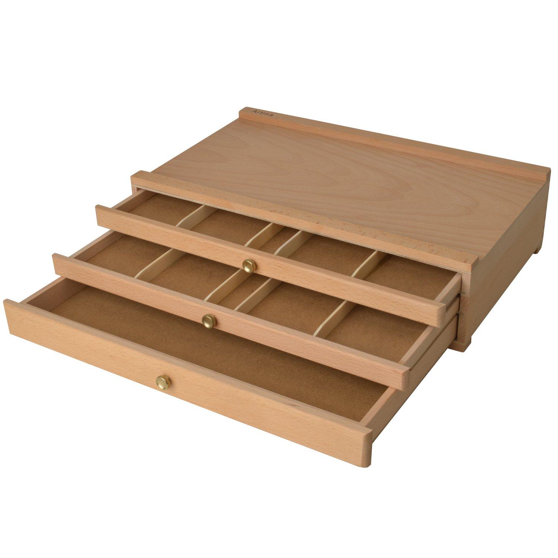 ARTINA valigetta artisti portautensili a tre cassetti - modello Troyes - portapennelli legno massello di olmo