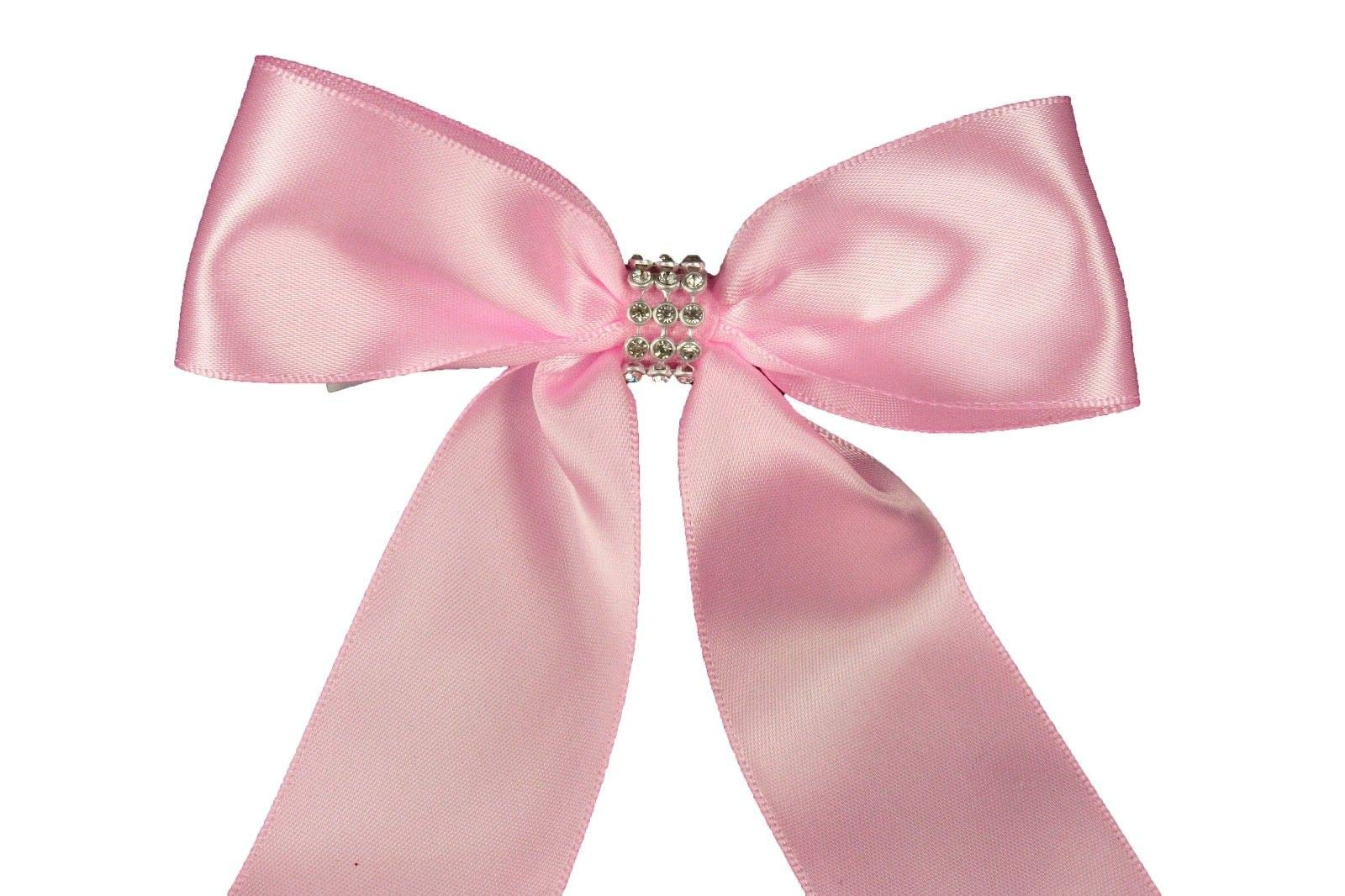 Bright Sun Pink (Set of 10) Pre-Made 1-1/2'' Satin Bows Rhinestone Center Design with Wire Tie #DPNH