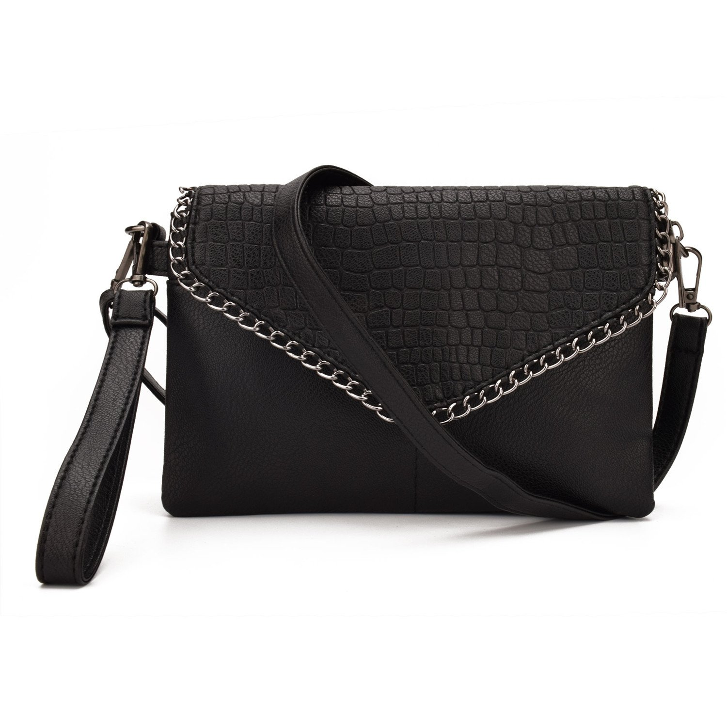 Black Jiaruo Leather bag For Women Simple chains bags Handbags and Purses