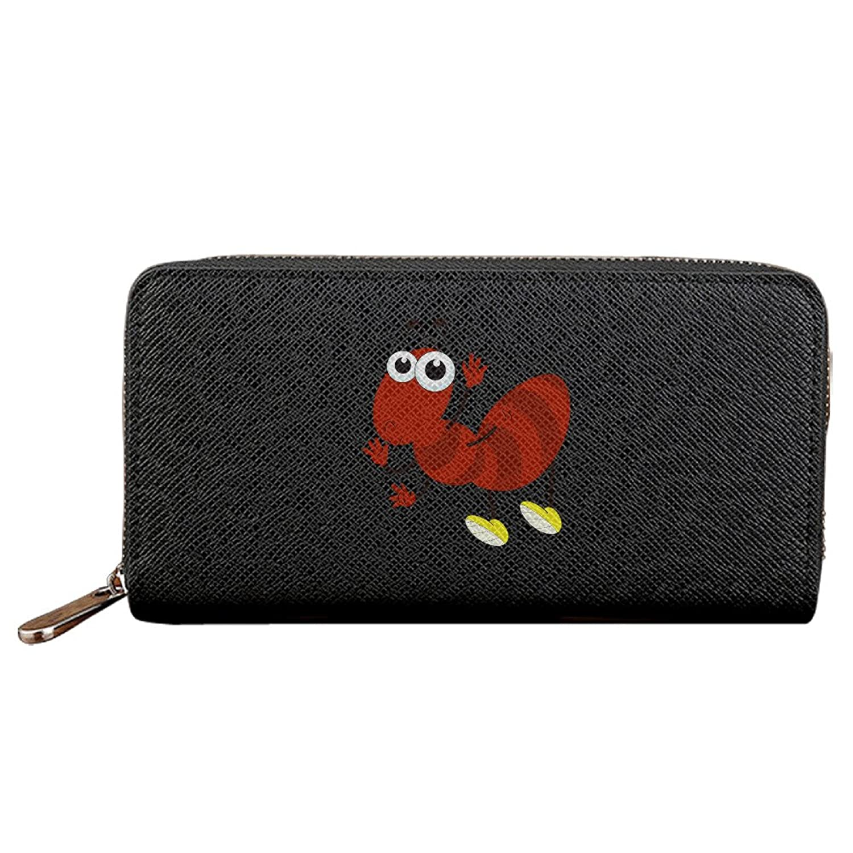 Catie Scott Cartoon Red Ant Unisex Fashion Leather Wallets Long Zipper Clutch Purses Handbags