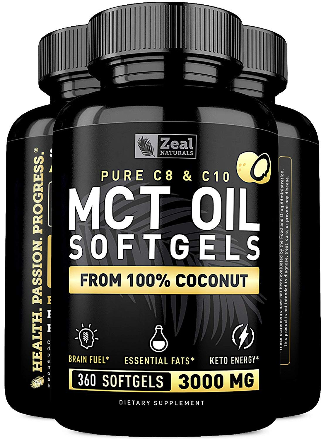 Pure MCT Oil Capsules (360 Softgels   3000mg) 4 Month Supply MCT Oil Keto Pills w Unrefined Coconut Oil - C10 & C8 MCT Oil Coconut Oil Capsules - Keto Brain Fuel, Keto Energy, Octane Oil Ketosis Pills
