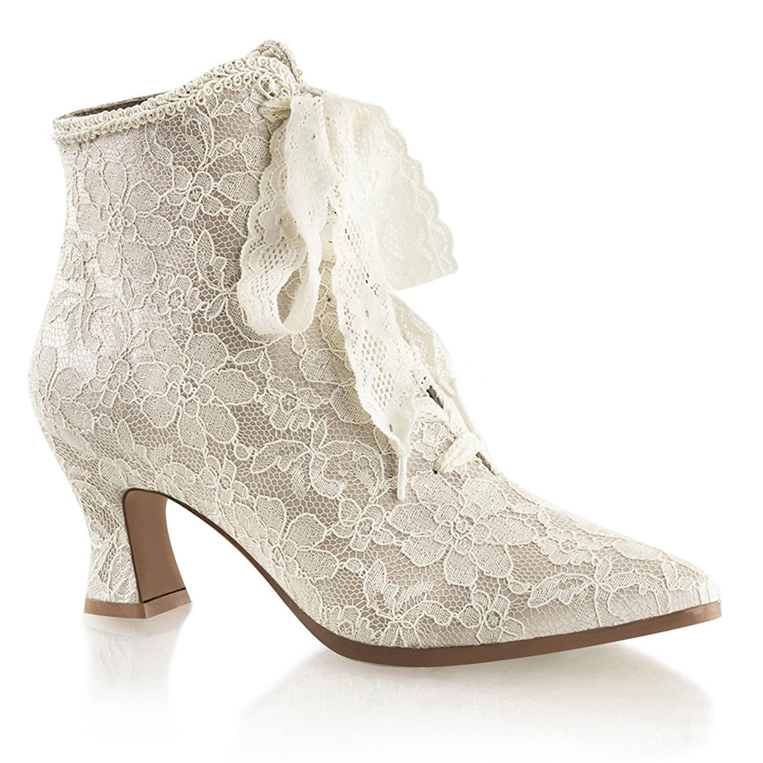 Womens Champagne Lace Wedding Boots with 2.75 Inch Low Heel and Lace Up Front