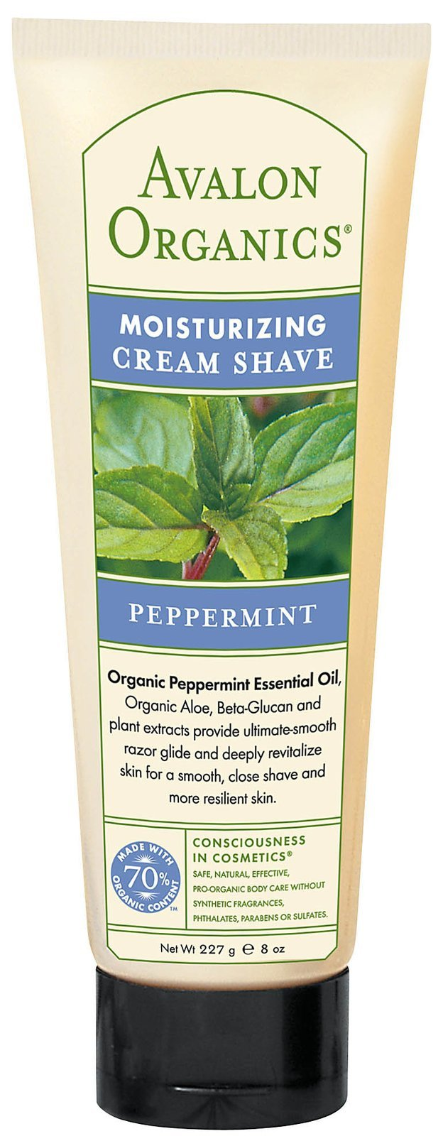 Avalon Organics Moisturizing Cream Shave, Peppermint 8 oz ( Pack of 8)