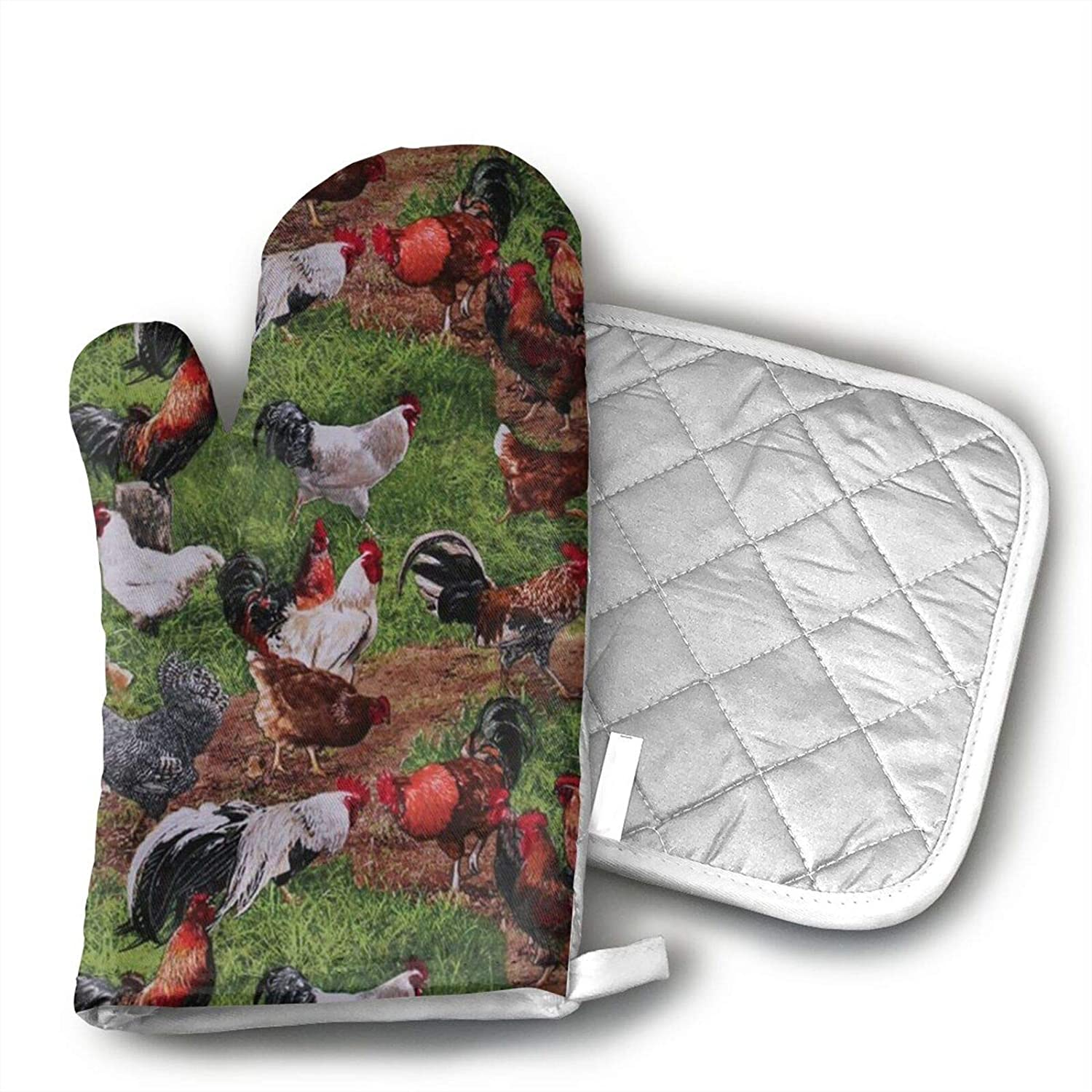 antcreptson Farm Animals Chickens Roosters Oven Mitts Heat Resistant Soft Lining Cotton Pot Holder Oven Gloves Set for Kitchen BBQ Grilling Baking