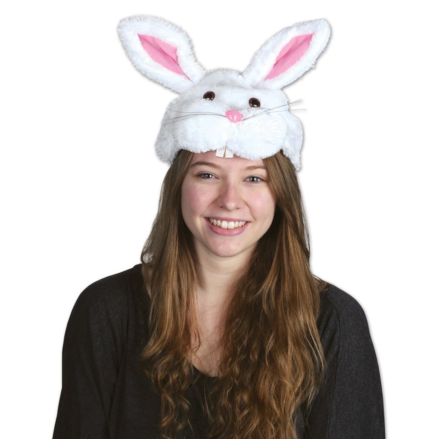 Pack of 12 Plush Bunny Head Hat Easter Costume Accessories by Party Central