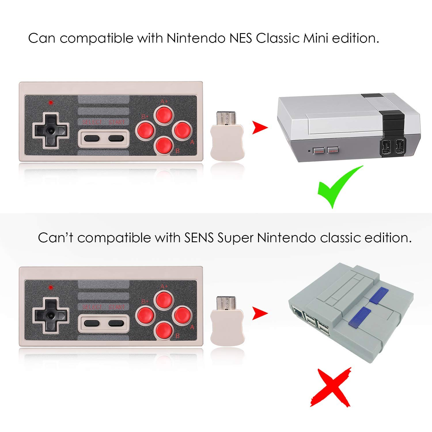 2 Pack NES Classic Wireless Controller, Nintendo Classic Controller Gamepad Joypad for Nintendo NES Classic Edition (NOT for SNES Super Nintendo Classic Edition) by Lxuemlu (Image #4)