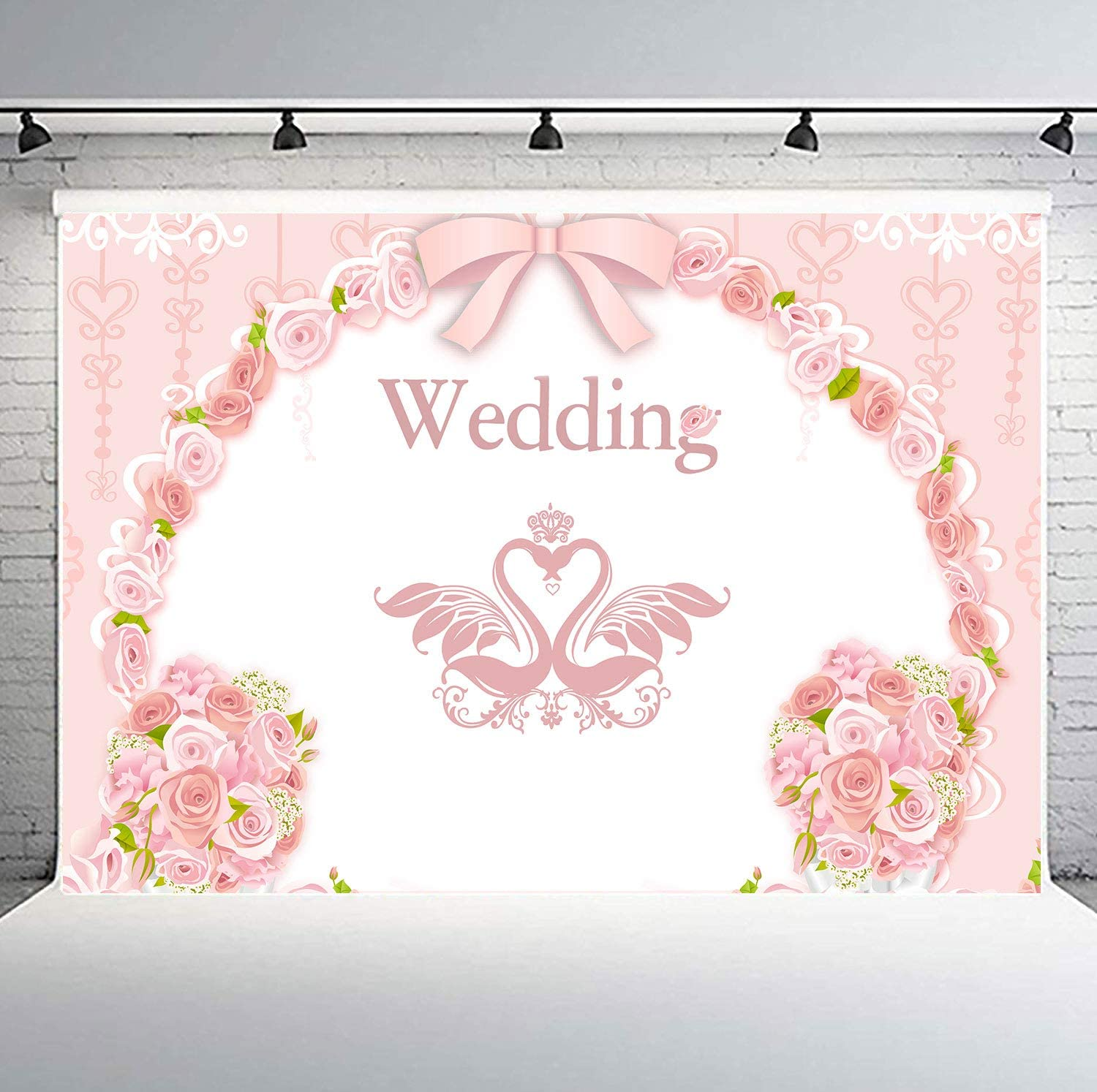 Amazon Com Flasiy Wedding Ceremony Backdrop For Photography 10x7ft Pink Rose Floral Flower Swan Background For Bridal Shower Dessert Table Decoration Party Banner Photo Video Studio Props Ay173 Camera Photo