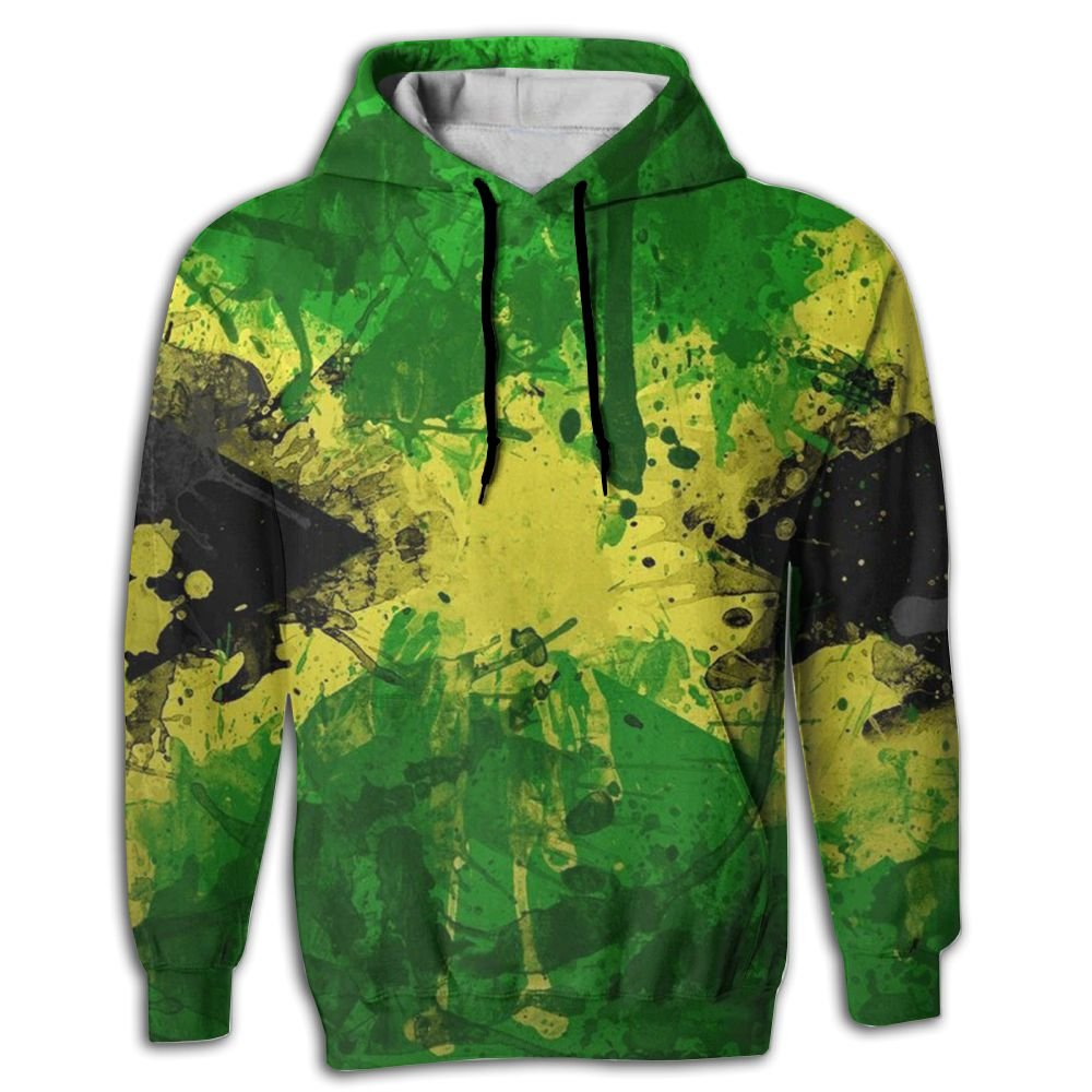QQMIMIG Unisex Jamaica Painting 3D Printed Pullover Long Sleeve Fleece Hooded Sweatshirts with Pockets