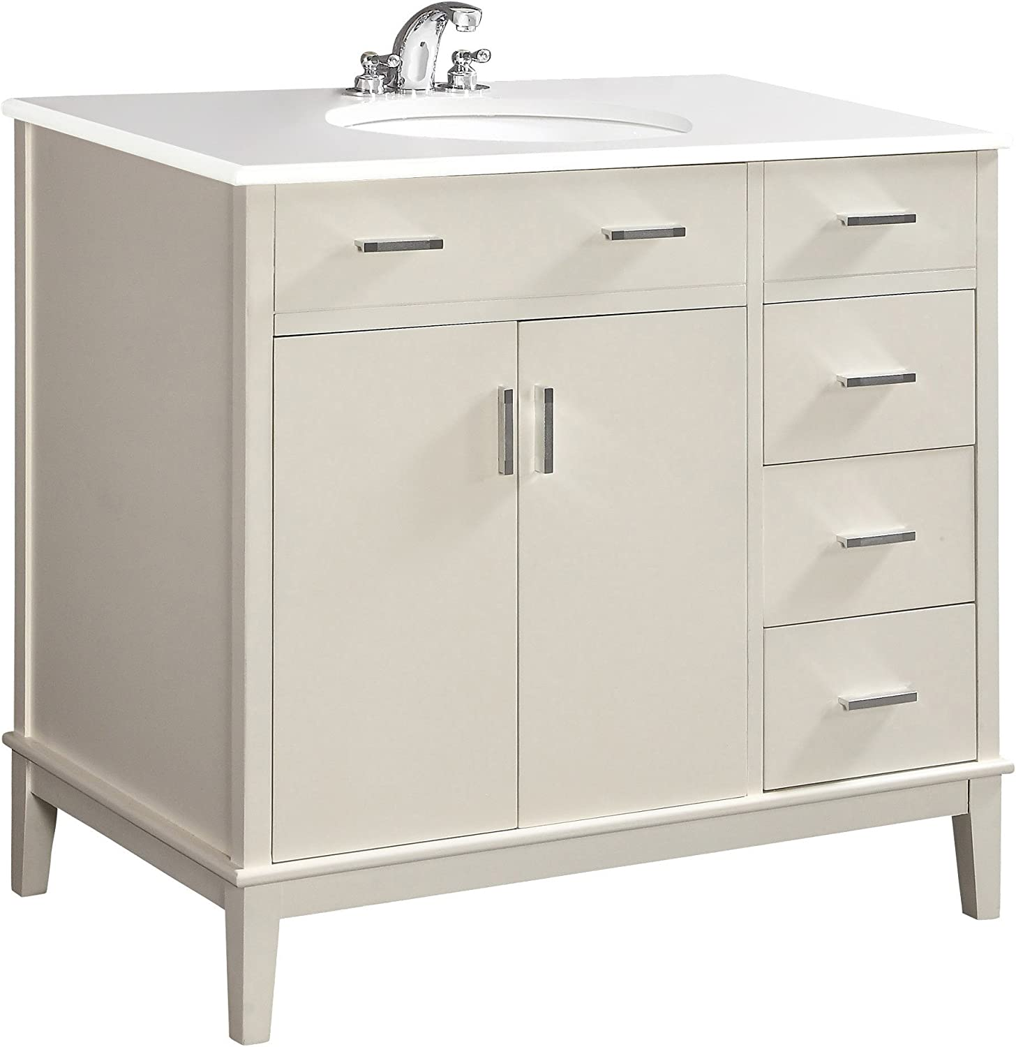 Simpli Home NL-URBAN-SW-36-2A Urban Loft 36 inch Contemporary Bath Vanity in Soft White with White Engineered Quartz Marble Top