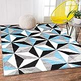 Home Culture Palermo Modern Geometric Grey Blue Black Rug, 80x150cm