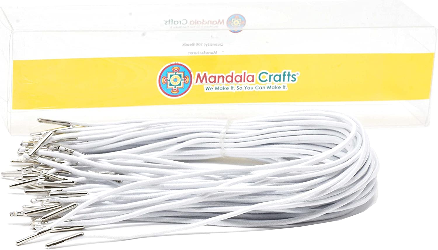 Stretch Loop Band with Metal Ends for Masks Badges Hats Mandala Crafts Elastic Barbed Cord Signs; 9 Inches 50 Loops White Menus
