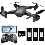 FPV RC Drone with Camera Live Video Teeggi XS809HW WiFi VR Quadcopter with 2MP HD 120° Wide-angle Camera for Kids & Beginners - Altitude Hold One Key Off/Landing/Return, Bonus Battery with 16G SD Card