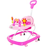 GoodLuck Baybee Round Baby Walker Cum Rocker for Kids | Music & Light Function with Parent Control Push Bar and Stopper,Fun Toys & Activities for Babies/Childs (6 Months to 2 Years) (Pink)
