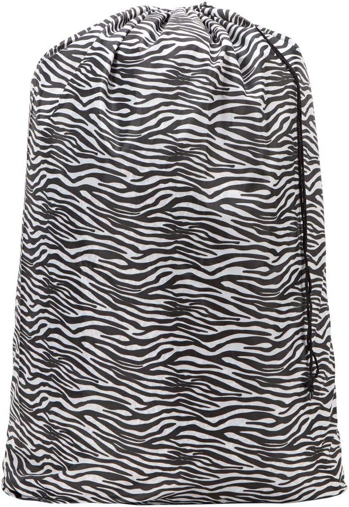 HOMEST Zebra Black Travel Laundry Bag, 28 x 40 Inches Rip-Stop Nylon Heavy Duty Dirty Clothes Bag with Drawstring, Laundry Basket or Hamper Liner, Machine Washable, Anti-Odor