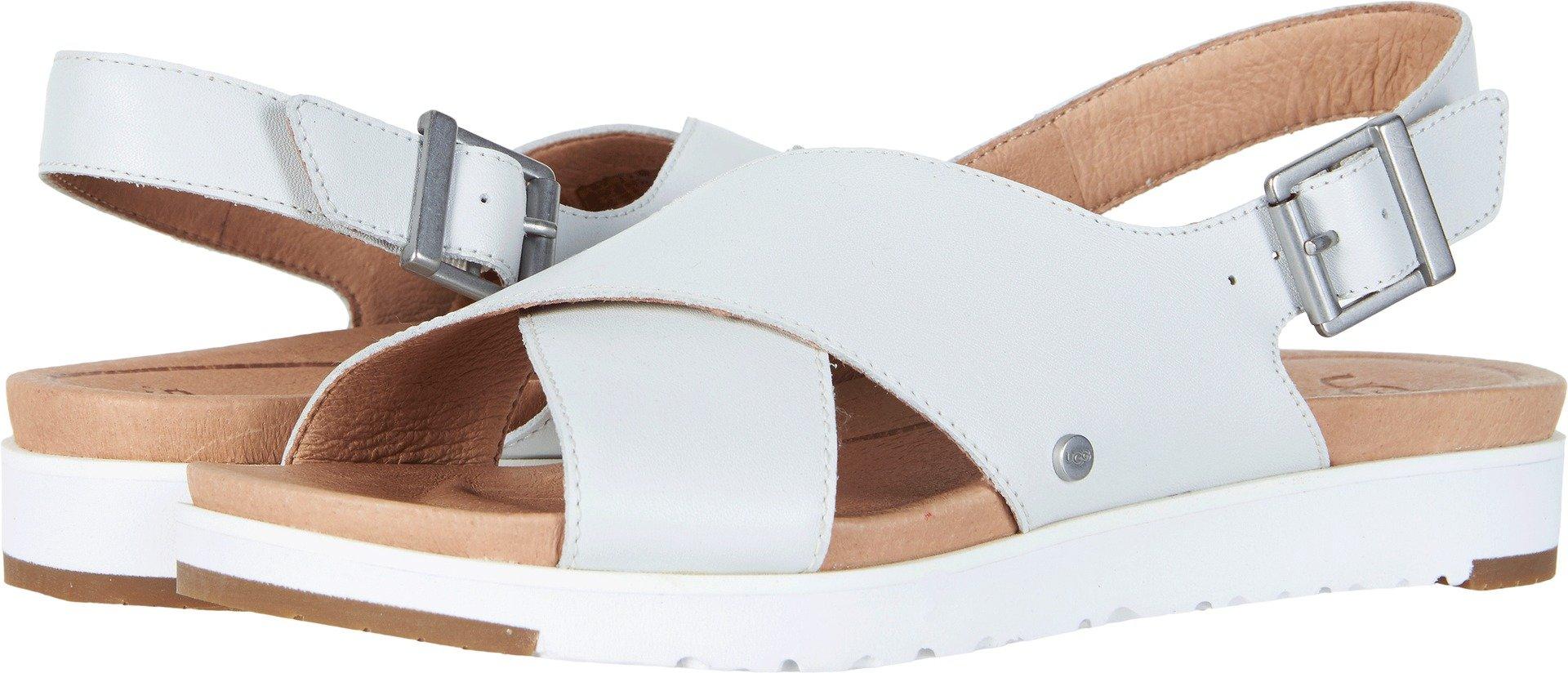 UGG Women's Kamile Flat Sandal, White, 9 M US