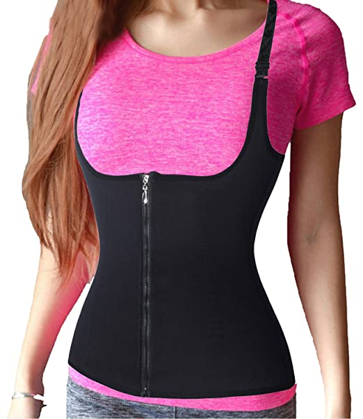 d26bd42d957 Waist Trainer Corset for Weight Loss Sport Workout Body Shaper Tummy Fat  Burner Vest Black  Amazon.co.uk  Clothing