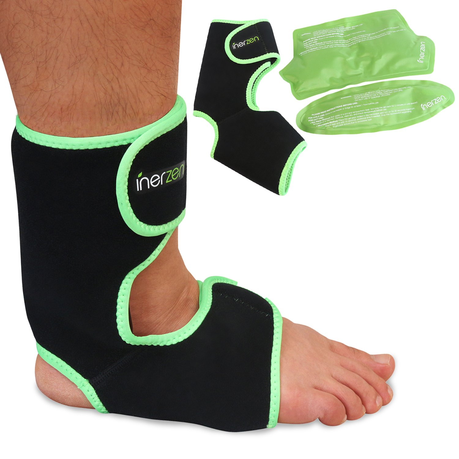 Inerzen Foot and Ankle Support Hot and Cold Gel Therapy Wrap - Includes 2 Hot or Cold Gel Packs for Pain Relief - Microwavable, Freezable, Reusable (One Size Fits All)