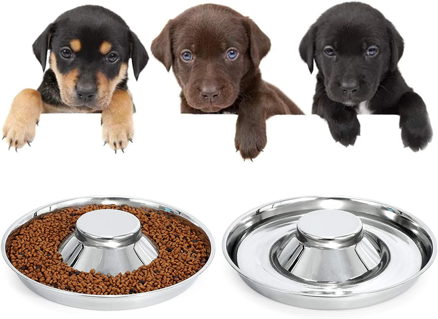 KASBAH Stainless Steel Dog Bowls for Puppy, 2 Pack Puppy Feeder Bowl for Feeding Food and Water Weaning Pet Feeder Bowl Water Bowl for Small Dogs/Cats/Pets