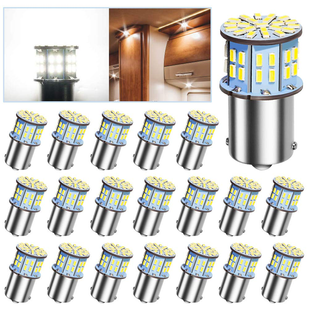 20Pcs 1141 1156 RV Led Light Bulbs, 12V Super Bright Low Power 1003 1073 BA15S 7506 50 SMD 3014 Replacement for Camper Boat Interior Indoor License Plate Lights Brake Lights 6000K Xenon Bright White Marsauto