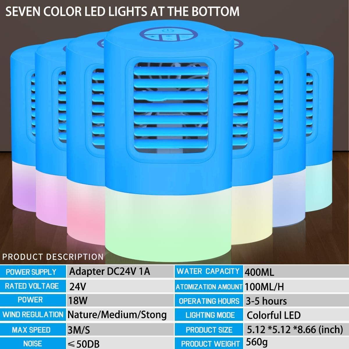 Climatizzatore Portatile Ventilatore 4 in 1 mini Personale Raffreddamento ad Aria Umidificatore Mobile con LED 7 Colori Raffreddatore ad Aria Condizionata luce Ambientale