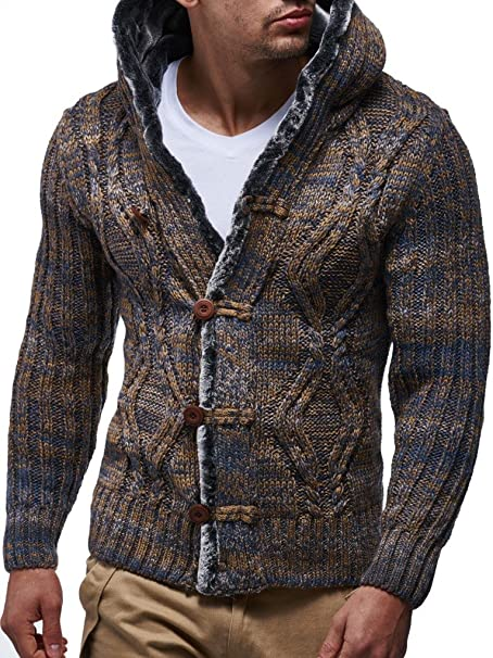 Leif Nelson Men's Knitted Cardigan   Long sleeved slim fit hoodie   Stylish button up cardigan for Men   Winter pullover