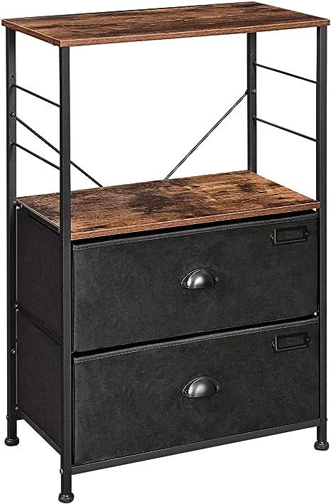 Fabric Bedside Table Sofa Side Cabinets Storage Drawer Unit Metal Frame Funiture